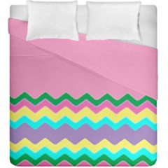 Easter Chevron Pattern Stripes Duvet Cover Double Side (King Size)