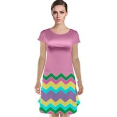 Easter Chevron Pattern Stripes Cap Sleeve Nightdress by Amaryn4rt