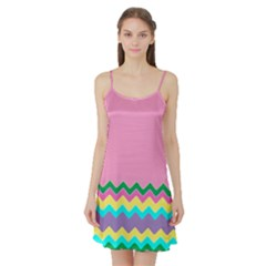 Easter Chevron Pattern Stripes Satin Night Slip