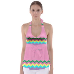 Easter Chevron Pattern Stripes Babydoll Tankini Top
