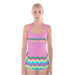 Easter Chevron Pattern Stripes Boyleg Halter Swimsuit
