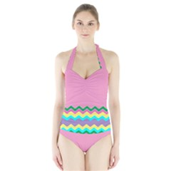 Easter Chevron Pattern Stripes Halter Swimsuit