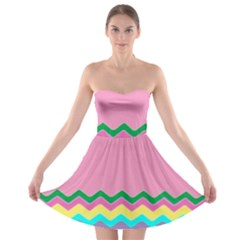 Easter Chevron Pattern Stripes Strapless Bra Top Dress