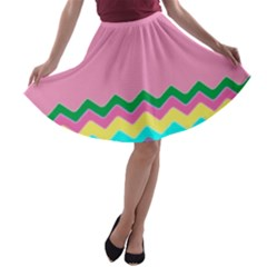 Easter Chevron Pattern Stripes A-line Skater Skirt