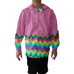 Easter Chevron Pattern Stripes Hooded Wind Breaker (Kids)