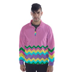 Easter Chevron Pattern Stripes Wind Breaker (Men)