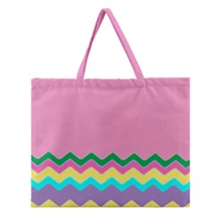 Easter Chevron Pattern Stripes Zipper Large Tote Bag by Amaryn4rt