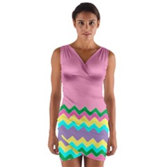 Easter Chevron Pattern Stripes Wrap Front Bodycon Dress