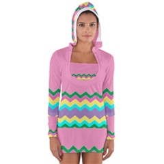 Easter Chevron Pattern Stripes Women s Long Sleeve Hooded T Shirt