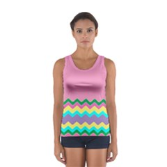 Easter Chevron Pattern Stripes Women s Sport Tank Top