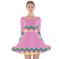 Easter Chevron Pattern Stripes Long Sleeve Velvet Skater Dress