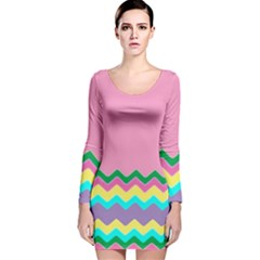 Easter Chevron Pattern Stripes Long Sleeve Velvet Bodycon Dress