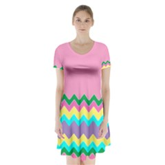 Easter Chevron Pattern Stripes Short Sleeve V Neck Flare Dress by Amaryn4rt