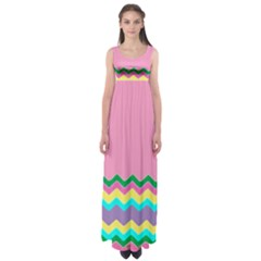 Easter Chevron Pattern Stripes Empire Waist Maxi Dress