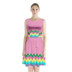 Easter Chevron Pattern Stripes Sleeveless Chiffon Waist Tie Dress