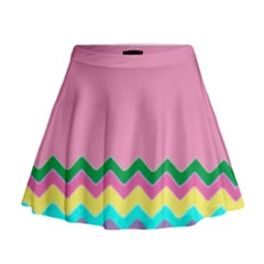 Easter Chevron Pattern Stripes Mini Flare Skirt
