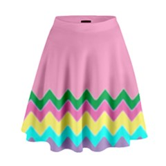 Easter Chevron Pattern Stripes High Waist Skirt by Amaryn4rt