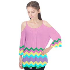 Easter Chevron Pattern Stripes Flutter Tees