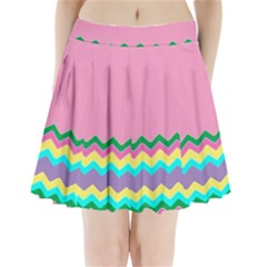 Easter Chevron Pattern Stripes Pleated Mini Skirt