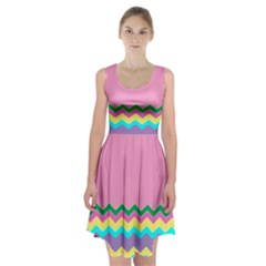 Easter Chevron Pattern Stripes Racerback Midi Dress