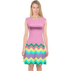 Easter Chevron Pattern Stripes Capsleeve Midi Dress