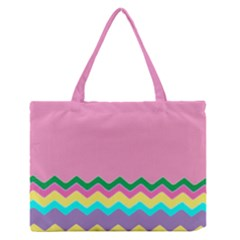 Easter Chevron Pattern Stripes Medium Zipper Tote Bag