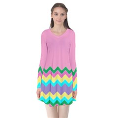 Easter Chevron Pattern Stripes Flare Dress