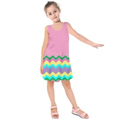 Easter Chevron Pattern Stripes Kids  Sleeveless Dress by Amaryn4rt