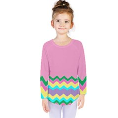 Easter Chevron Pattern Stripes Kids  Long Sleeve Tee
