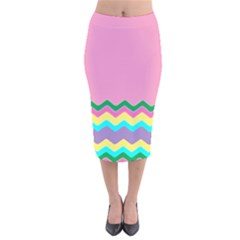 Easter Chevron Pattern Stripes Velvet Midi Pencil Skirt by Amaryn4rt