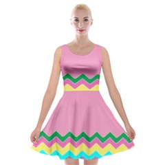 Easter Chevron Pattern Stripes Velvet Skater Dress by Amaryn4rt