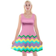 Easter Chevron Pattern Stripes Reversible Velvet Sleeveless Dress