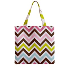 Chevrons Stripes Colors Background Zipper Grocery Tote Bag by Amaryn4rt