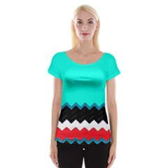 Pattern Digital Painting Lines Art Women s Cap Sleeve Top