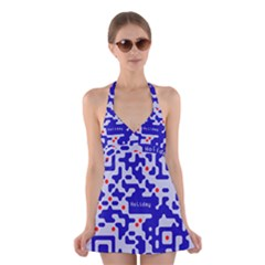 Digital Computer Graphic Qr Code Is Encrypted With The Inscription Halter Swimsuit Dress