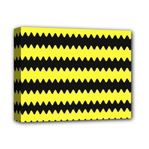Yellow Black Chevron Wave Deluxe Canvas 14  X 11  by Amaryn4rt