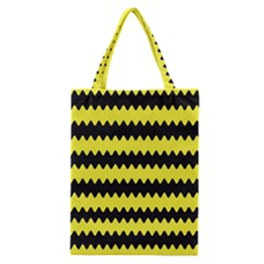 Yellow Black Chevron Wave Classic Tote Bag by Amaryn4rt
