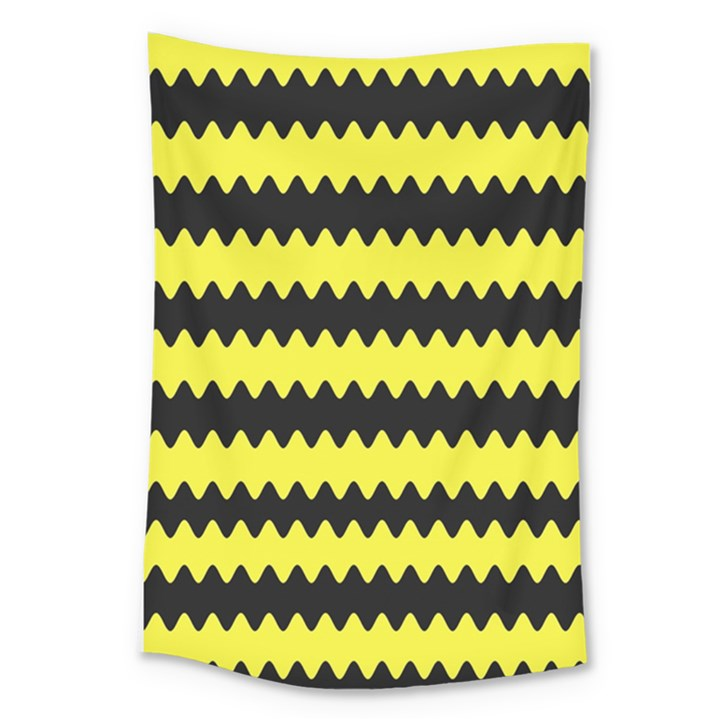 Yellow Black Chevron Wave Large Tapestry
