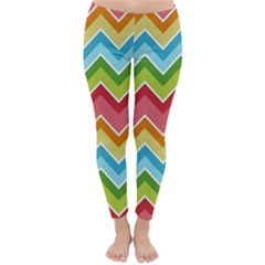 Colorful Background Of Chevrons Zigzag Pattern Classic Winter Leggings by Amaryn4rt