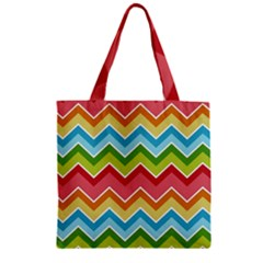 Colorful Background Of Chevrons Zigzag Pattern Zipper Grocery Tote Bag by Amaryn4rt