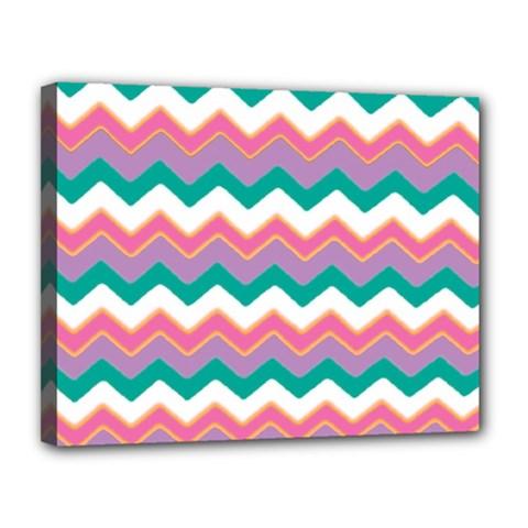 Chevron Pattern Colorful Art Canvas 14  X 11  by Amaryn4rt