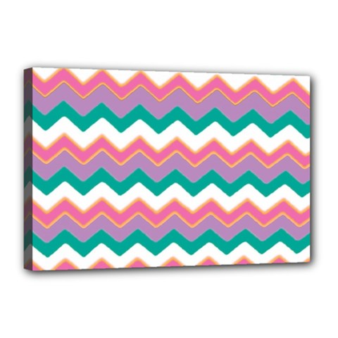 Chevron Pattern Colorful Art Canvas 18  X 12  by Amaryn4rt