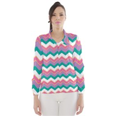 Chevron Pattern Colorful Art Wind Breaker (women) by Amaryn4rt
