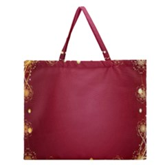 Red Background With A Pattern Zipper Large Tote Bag by Amaryn4rt