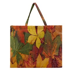 Colorful Autumn Leaves Leaf Background Zipper Large Tote Bag by Amaryn4rt