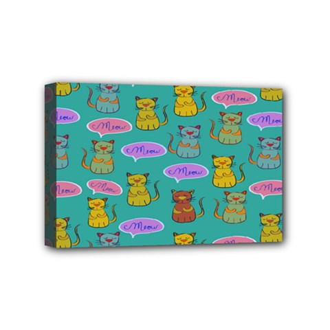 Meow Cat Pattern Mini Canvas 6  X 4  by Amaryn4rt