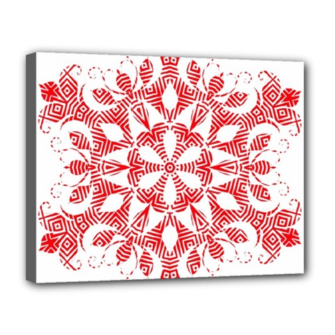 Red Pattern Filigree Snowflake On White Canvas 14  X 11  by Amaryn4rt