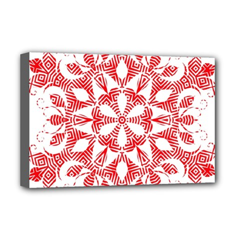 Red Pattern Filigree Snowflake On White Deluxe Canvas 18  X 12   by Amaryn4rt