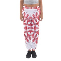 Red Pattern Filigree Snowflake On White Women s Jogger Sweatpants by Amaryn4rt