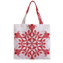 Red Pattern Filigree Snowflake On White Zipper Grocery Tote Bag by Amaryn4rt